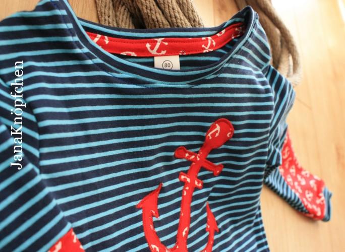 Selbstgenähtes maritimes Langarmshirt für den Kleinen. JanaKnöpfchen - Nähen für Jungs