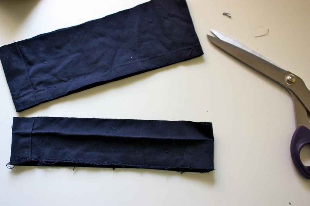Zusätzlich den vorhandenen Hosenumschlag aufgetrennt und abgeschnitten