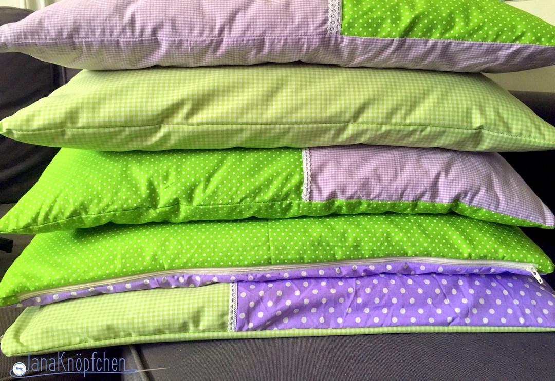 Kissenbezug nähen in frühlingsfarben. JanaKnöpfchen. Nähblog - Nähen für Jungs