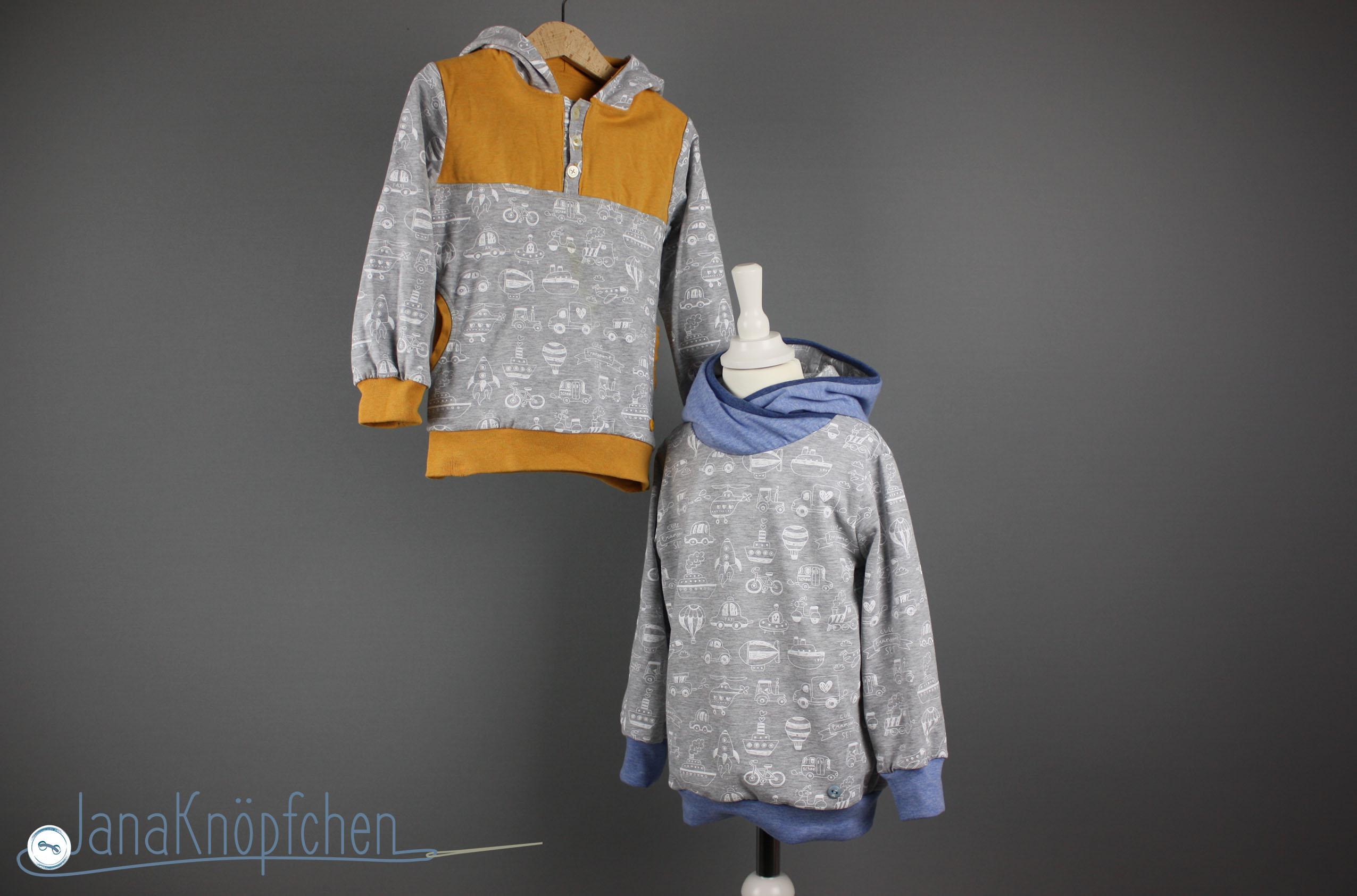 Hoodie für Jungs nähen - zwei Hoodies aus einem Stoff nähen. JanaKnöpfchen - Nähblog