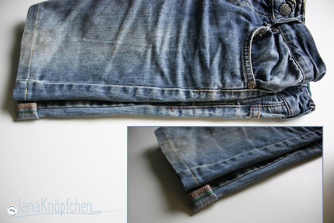 Tutorial Kürzen der Jeans Vergleich mit kurzer Hose. JanaKnöpfchen - Nähen für Jungs. Nähblog