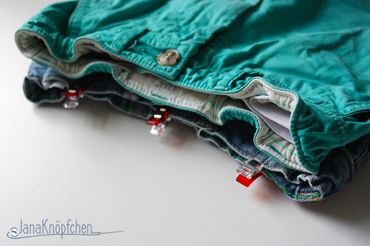 Tutorial kurze Jeanshosen aus Jeans nähen. JanaKnöpfchen - Nähen für Jungs. Nähblog