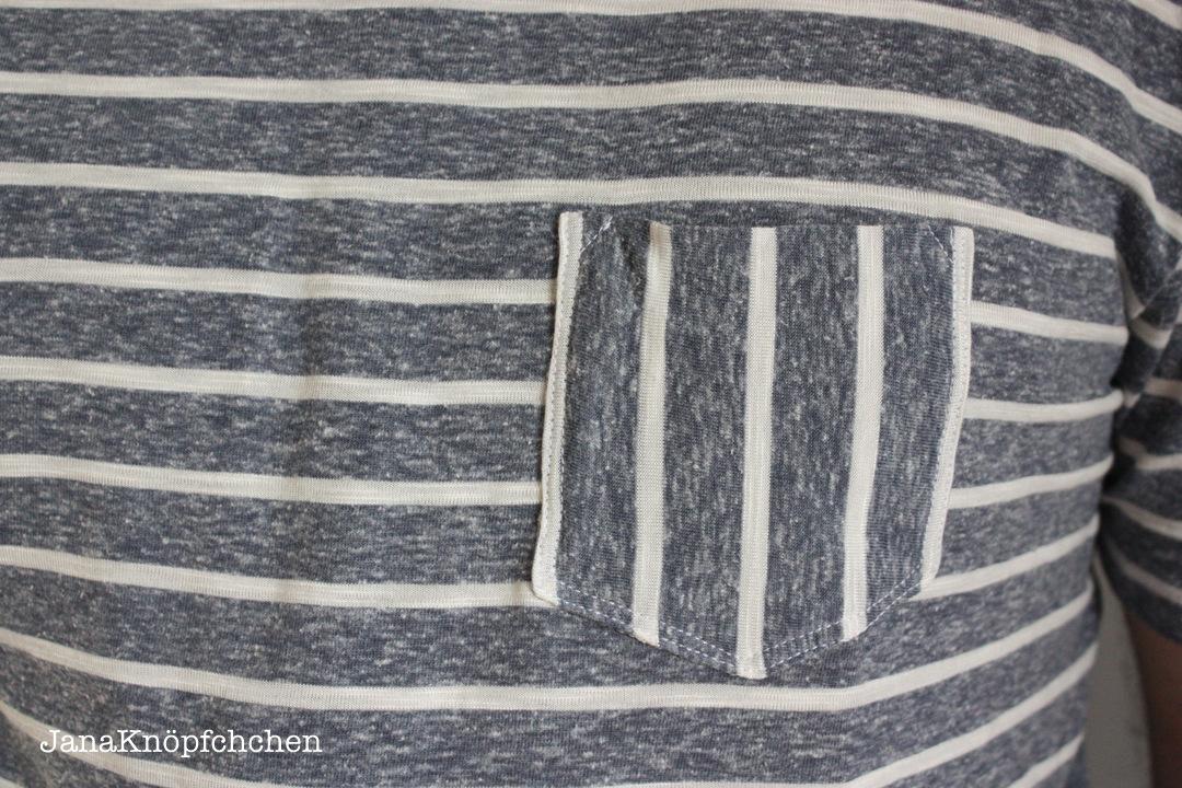 Detail Tasche T-Shirt fuer Maenner. Schnitt Max von Pattydoo. JanaKnoepfchen Naehblog