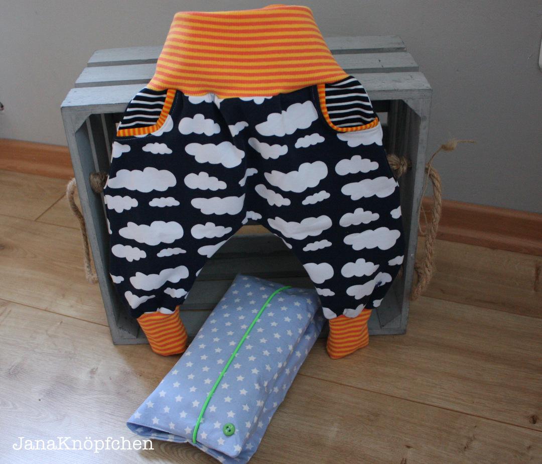 Babyhose und Wickelutensilo als Geschenk zur Geburt. janaknoepfchen naehblog. nähen für jungs