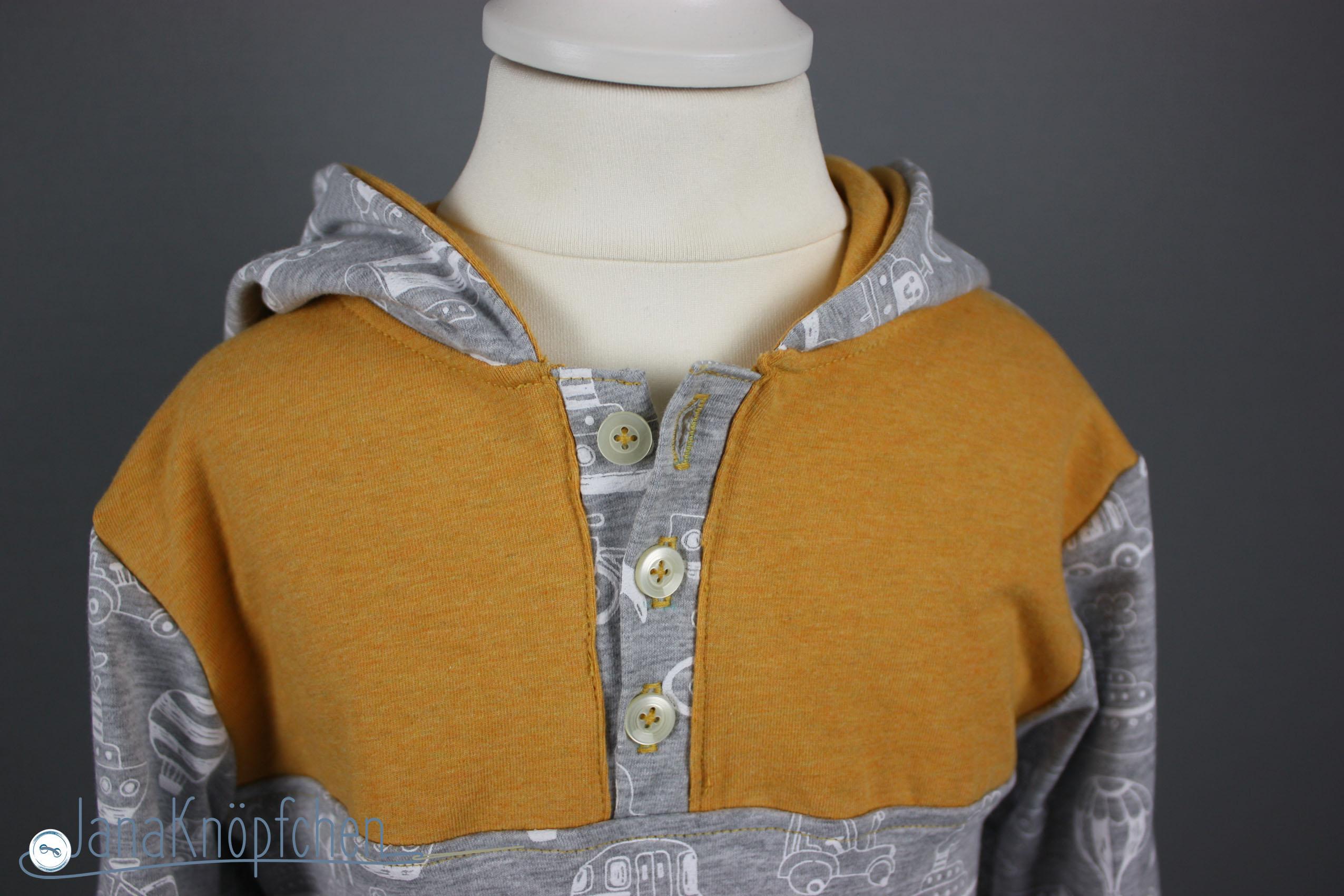 Knopfleiste an hoodie naehen. janaknoepfchen. nähblog - nähen für jungs