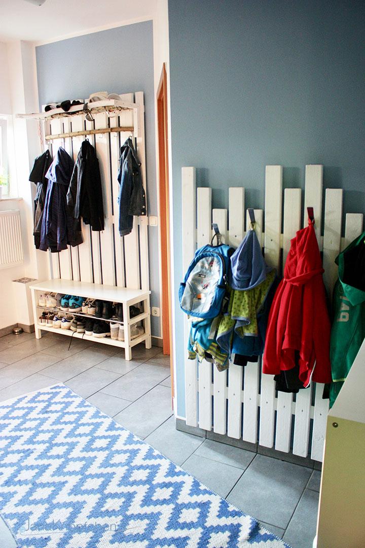 DIY Flur gestalten und eine Garderobe selber bauen. JanaKnöpfchen - Nähen für Jungs