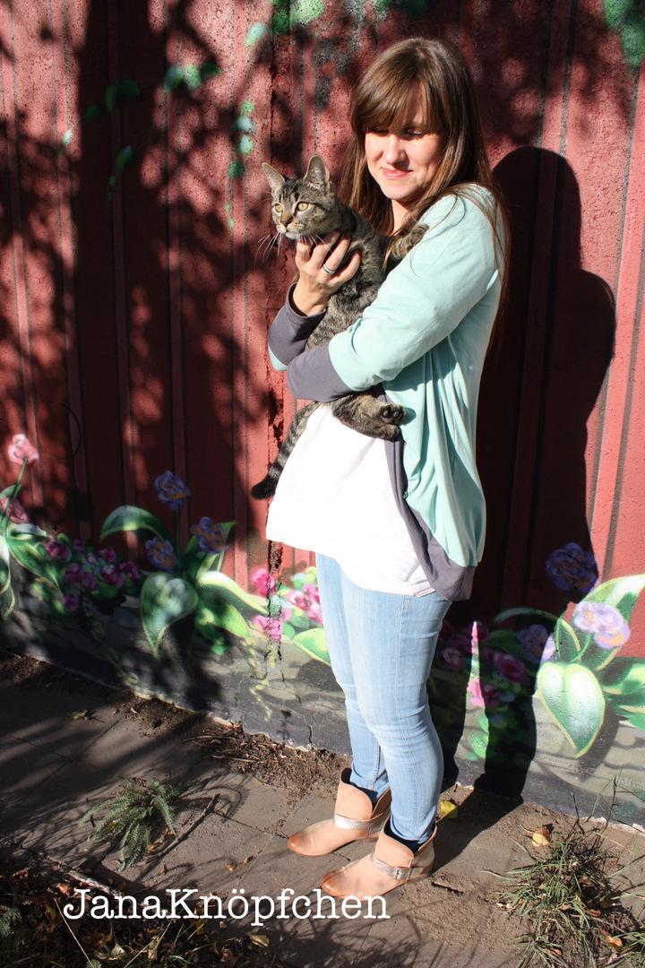 My Cuddel Me Cardigan mit Katze. JanaKnöpfchen Nähen für Jungs