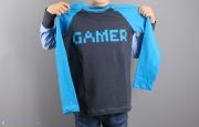 Gamer Shirt mit Pixelschrift genäht. JanaKnöpfchen - Nähen für Jungs
