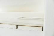 Detail des nahtverdeckten Reißverschlusses der Sitzauflage für die selbstgebaute Gartenschaukel. JanaKnöpfchen - Nähblog
