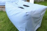 Selbstgenähte Tasche mit Reißverschluss für Gartenkissen. JanaKnöpfchen