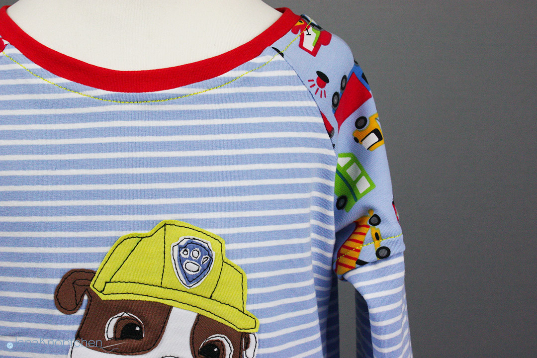 Geburtstagsshirt nähen für Jungs mit Paw Patrol Applikation. JanaKnöpfchen - Nähen für Jungs