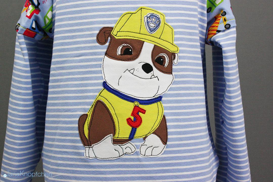 Paw Patrol Applikation auf Shirt für Jungs nähen. JanaKnöpfchen - Nähen für Jungs