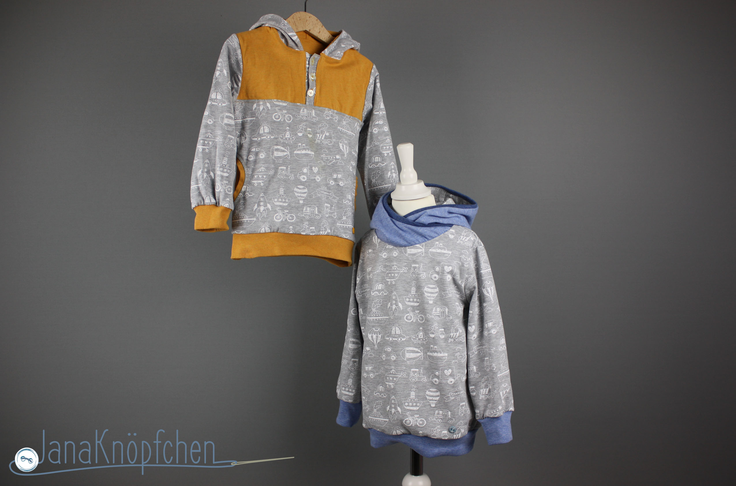 zwei hoodies mit autos naehen.Jahresrückblick auf die Nähprojekt des Nähblogs JanaKnöpfchen - Nähen für Jungs