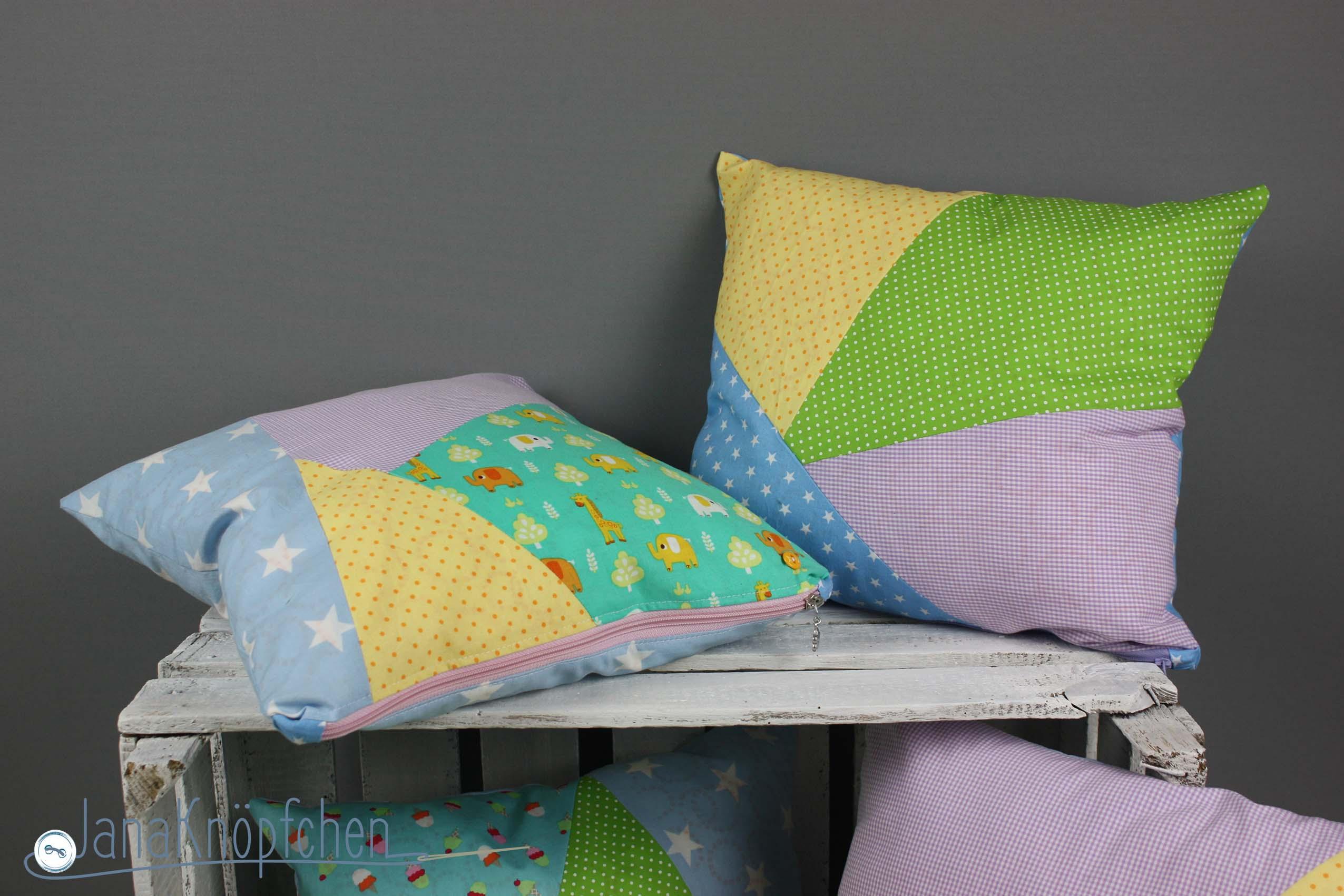 Kissenhüllen Nähen patchworkkissen für die kita eingangsbereich verschönern