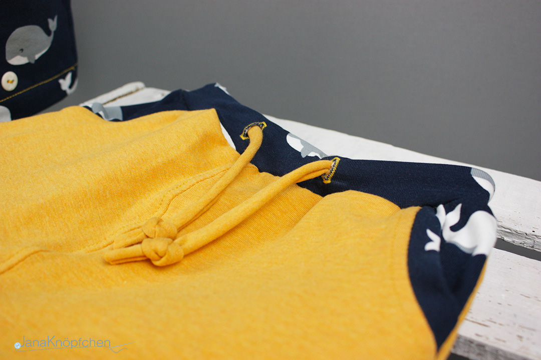 Band an der kurzen Schlafanzughose für Jungs. JanaKnöpfchen - Nähen für Jungs