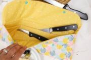 Teilungsfach der selbstgenähten Messertasche. JanaKnöpfchen - Nähen für Jungs