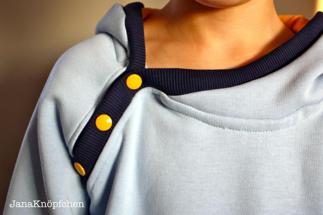 Knopfleiste Nähen bloggeburtstag und verlosung hoodie mit minion applikation
