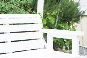 Armlehne der selbstgebauten Gartenschaukel.  JanaKnöpfchen - Nähen für Jungs