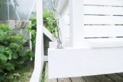 Detail der Kettenaufhängung an der selbstgebauten Gartenschaukel.  JanaKnöpfchen - Nähen für Jungs