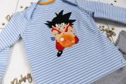 Babyshirt mit Son Goku Applikation genäht. JanaKnöpfchen - Nähen für Jungs