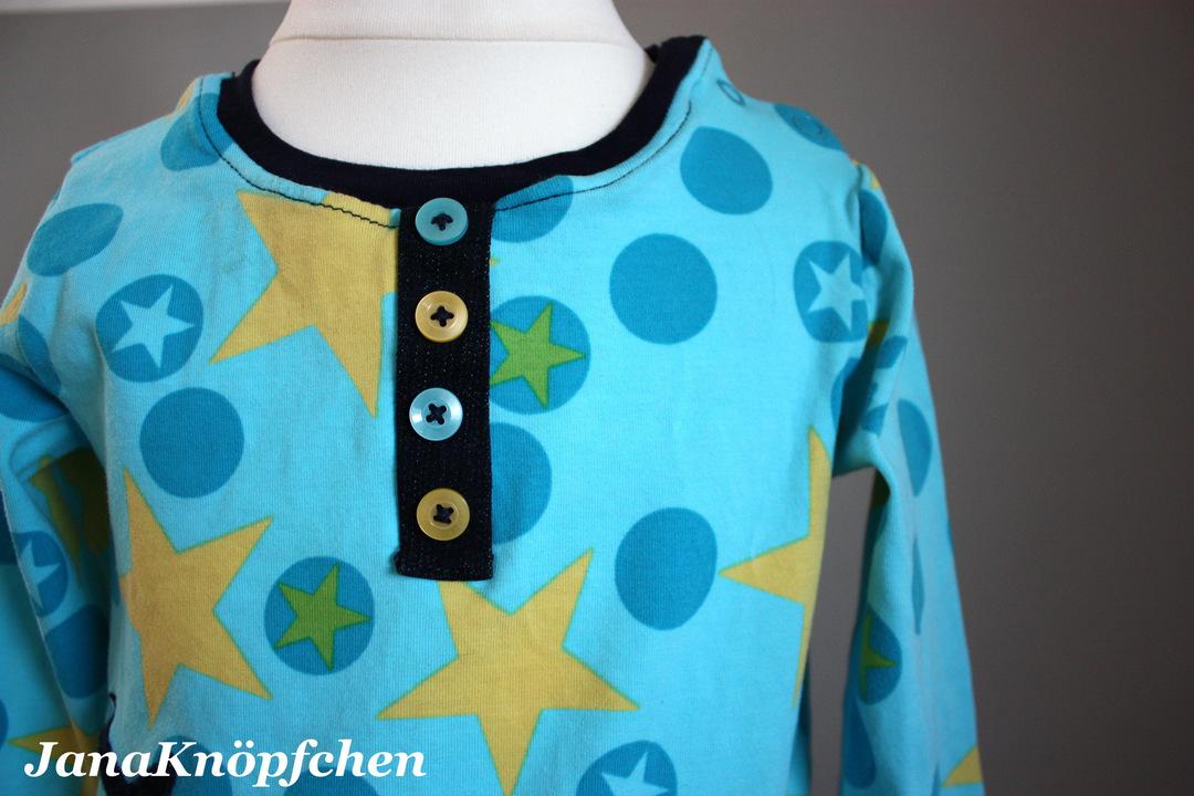 Shirt mit aufgenähter Knopfleiste - JanaKnöpfchen - Nähen für Jungs