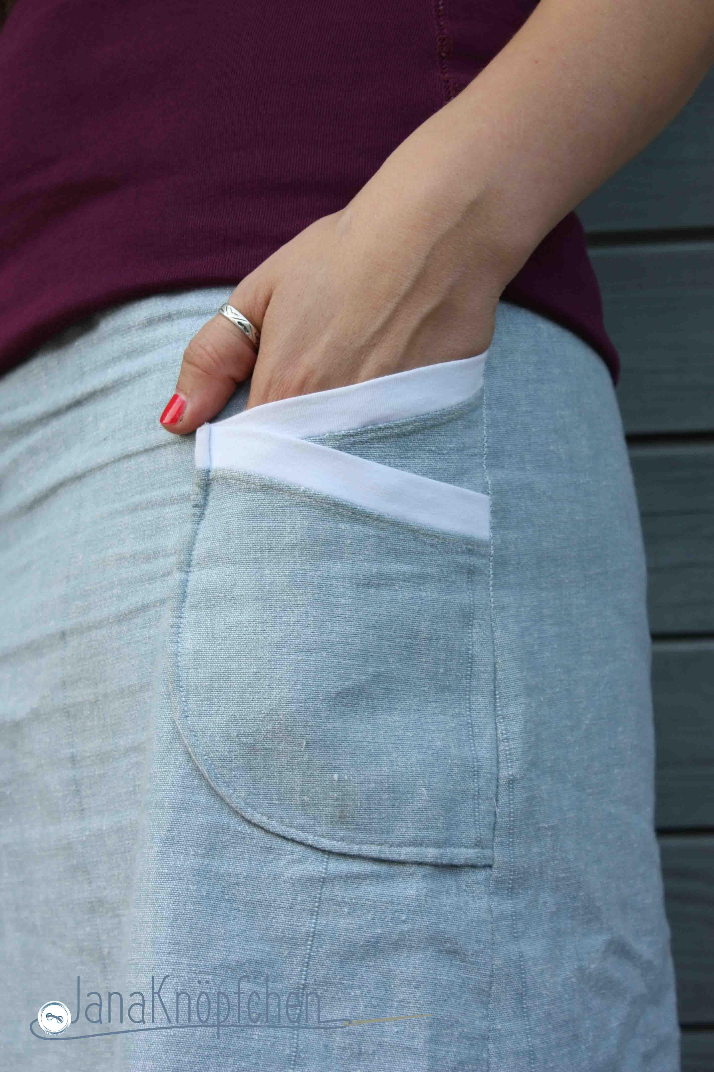 Detail Taschen Rock fuer Frauen. JanaKnopfchen Naehblog