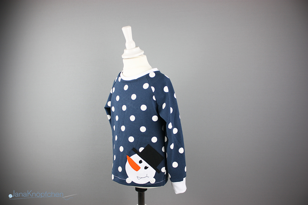 Tutorial Applikation aufnähen. Shirt mit Schneemann Applikation genäht. JanaKnöpfchen - Nähen für Jungs