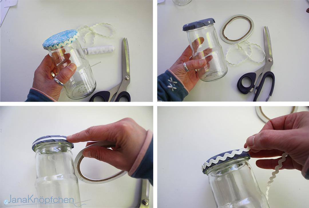 DIY Gläser verschönern. Deckel mit Zackenlitze bekleben. JanaKnöpfchen - Nähen für Jungs