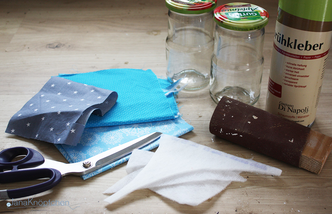DIY Gläser verschönern. Material. JanaKnöpfchen - Nähen für Jungs