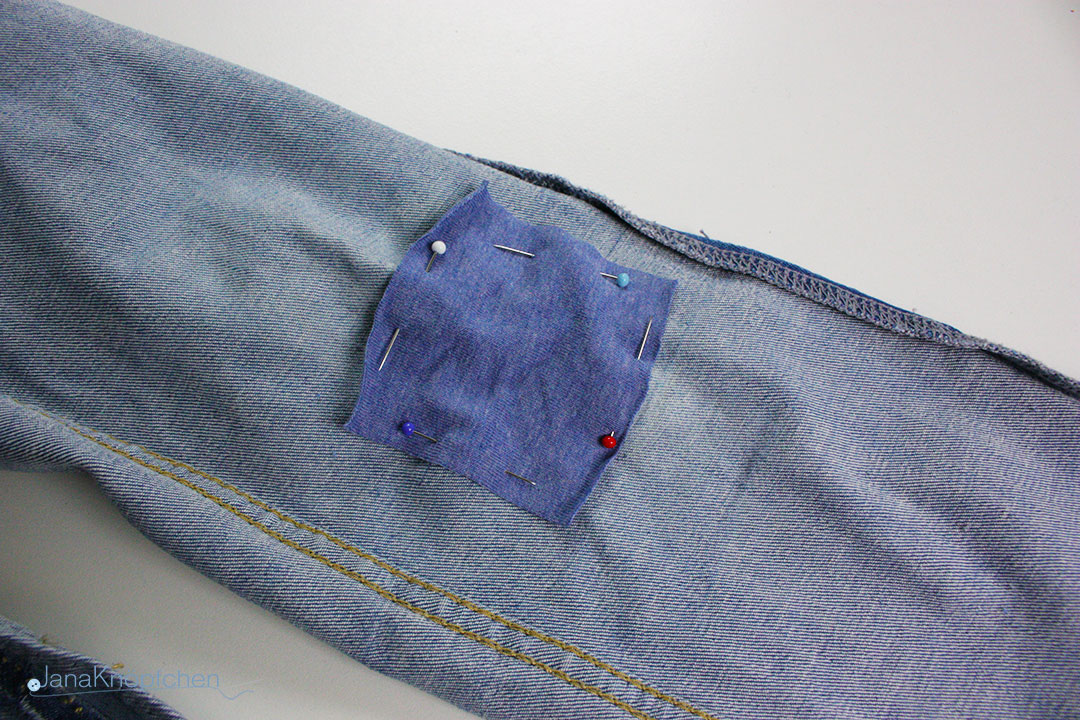 Tutorial Jeans flicken. Jersey auf Riß nähen. JanaKnöpfchen - Nähen für Jungs