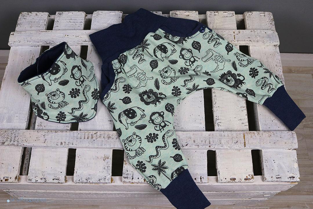 Babyset Dschungel mit Tuch Gr. 56. JanaKnöpfchen
