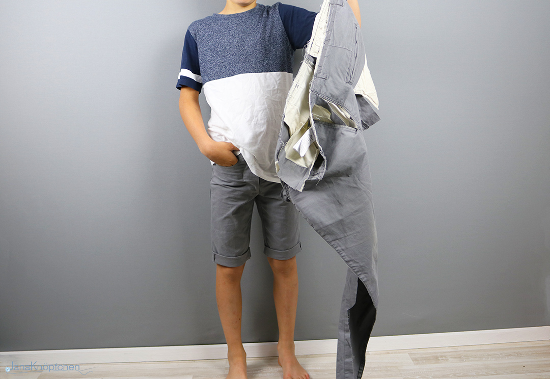 Upcycling kurze Hose aus langer nähen. JanaKnöpfchen - Nähen für Jungs