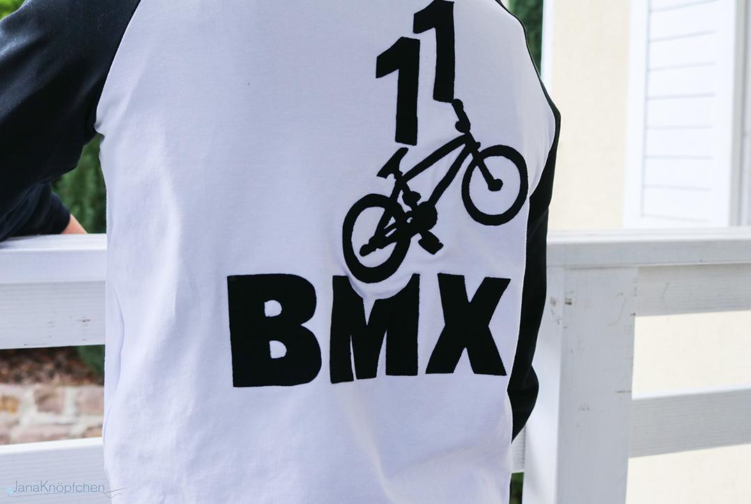 BMX Applikation auf Shirt für Jungs. JanaKnöpfchen - Nähen für Jungs