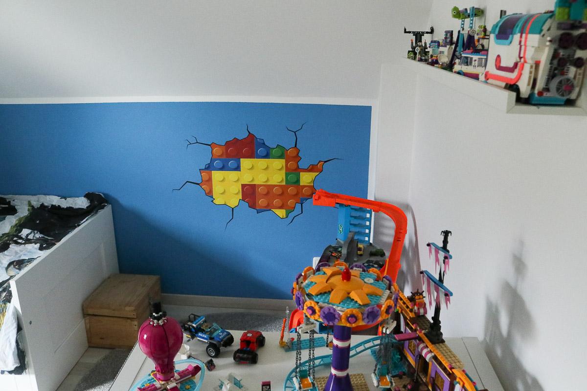 Legospielecke mit Lego-Wandtattoo im Kinderzimmer. JanaKnöpfchen - Nähen für Jungs